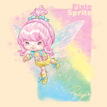 03- PIXIE SPRITE - S/S - PREMIUM TEE - SOFT CREAM Design