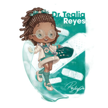 14- DR. TEALIA REYES - S/S - 3/4 BASEBALL TEE - WHITE/KELLY Design