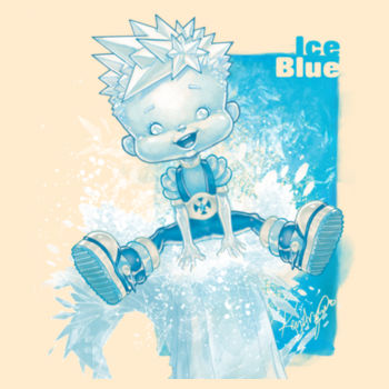 16- ICE BLUE - S/S - PREMIUM TEE - SOFT CREAM Design