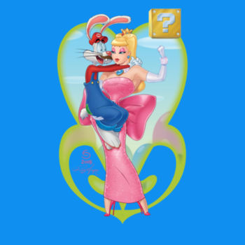 POWER UP PRINCESS - S/S - TANK TOP - NEON BLUE Design