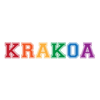KRAKOA PRIDE - S/S - ¾ BASEBALL TEE - WHITE/NEON ORANGE Design
