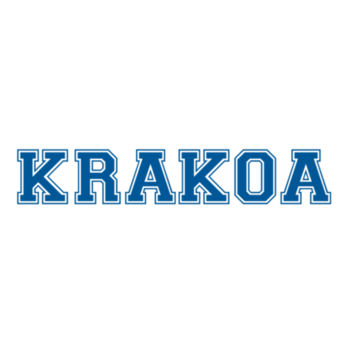 KRAKOA BLUE -S/S - ¾ BASEBALL TEE - WHITE/NEON ORANGE Design