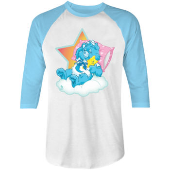 SLEEPY SAILOR - S/S - 3/4 BASEBALL TEE - WHITE/NEON BLUE Thumbnail