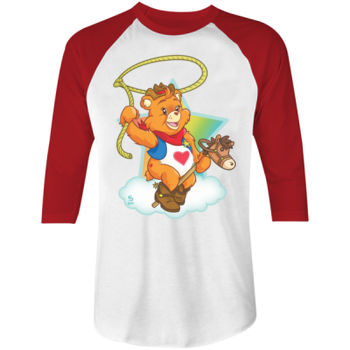 HOWDY BEAR - S/S - 3/4 BASEBALL TEE - WHITE/RED Thumbnail
