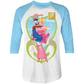 POWER UP PRINCESS -S/S - 3/4 BASEBALL TEE - WHITE/NEON BLUE Thumbnail