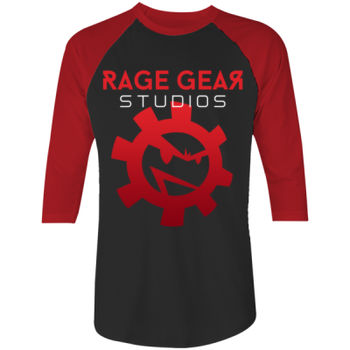 RAGE GEAR STUDIOS - S/S - 3/4 - BASEBALL TEE - BLACK/RED Thumbnail