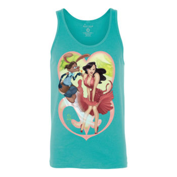 FLAMMING KISS - S/S - TANK TOP - TEAL Thumbnail