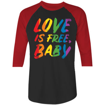 LOVE IS FREE - S/S - ¾ BASEBALL TEE - BLACK/RED Thumbnail