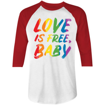 LOVE IS FREE - S/S - ¾ BASEBALL TEE - WHITE/RED Thumbnail